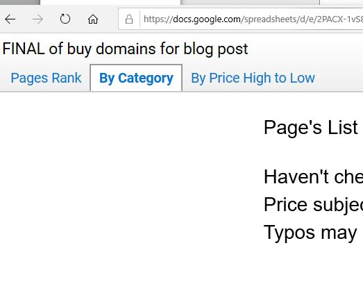 Page Howe's picks of Best Domain to Buy at BuyDomains.com