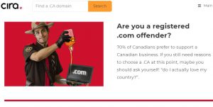 Canadian Domain Owners Called Offenders if they use .com